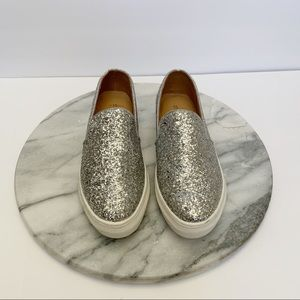 shoedazzle payge glitter slip on sneakers